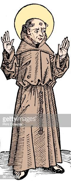 St Francis of Assisi Italian priest and founder of the Franciscan order 1493 St Francis holding up his hands to show stigmata From Liber chronicarum...