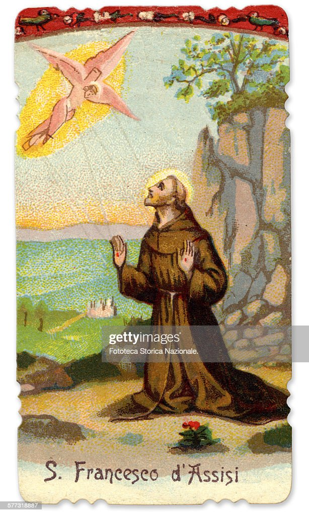 St. Francis of Assisi (1181-1226) receives the stigmata, September 14, 1224. Italian monk who preached simplicity and poverty and humility before God, founder of the Franciscan order. Holy picture, chromolithography, Italy, Monte della Verna (AR) approx. 1900 (Photo by Fototeca Gilardi/Getty Images).