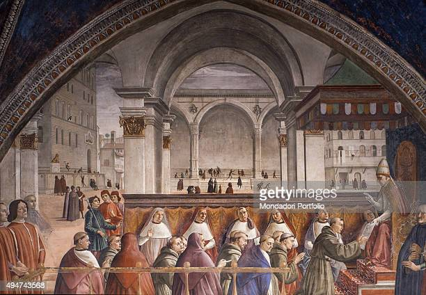 St Francis Receiving the Rule by Pope Honorius III by Domenico Ghirlandaio 14831486 15th Century fresco Italy Tuscany Florence Church of Santa...