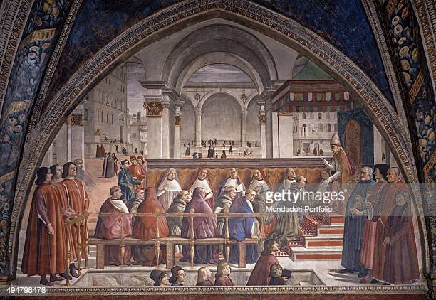 St Francis Receiving the Rule by Pope Onorio III by Domenico Ghirlandaio 14831486 15th Century fresco Italy Tuscany Florence Church of Santa Trinita...