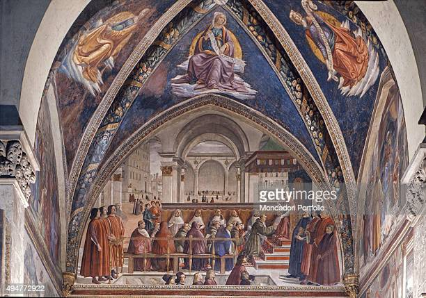 St Francis Receiving the Rule of the Order by Pope Honorius III by Domenico Ghirlandaio 14821485 15th Century fresco Italy Tuscany Florence Church of...