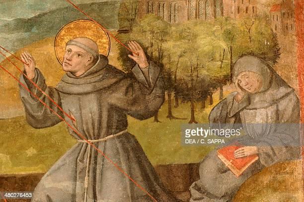 St Francis receiving the stigmata, fresco, Marienkirche , Lubeck , Schleswig-Holstein, Germany.
