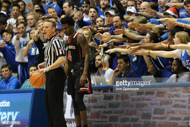 St Francis Red Flash guard Randall Gaskins Jr a baby and Duke fans during the 1st half of the Duke Blue Devils game versus the StFrancis on December...