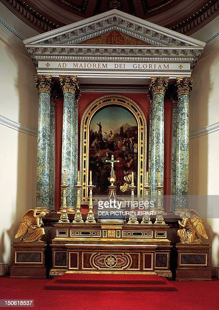 St Francis Xavier preaches to the Japanese people, an altar-piece by Bernardo Celentano on the altar of St Francis Xavier in the Church of Jesus in...