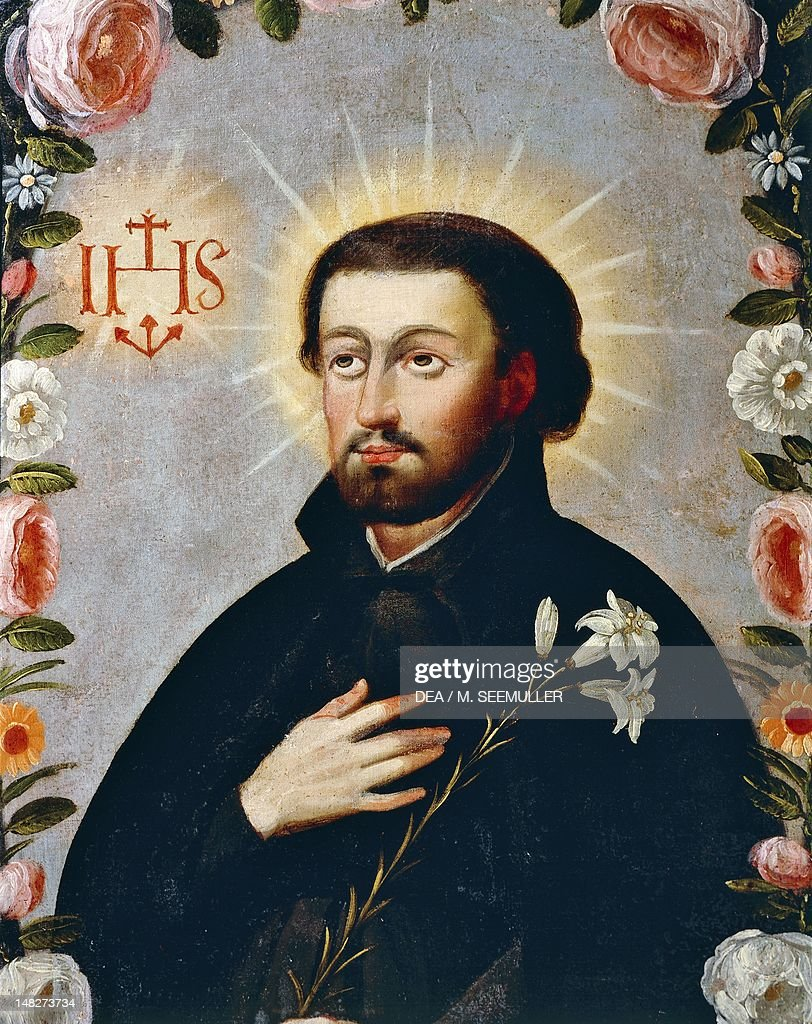 St Francis Xavier surrounded by roses, 18th century, by an artist of the Cuzco school. (Photo by DeAgostini/Getty Images) : News Photo