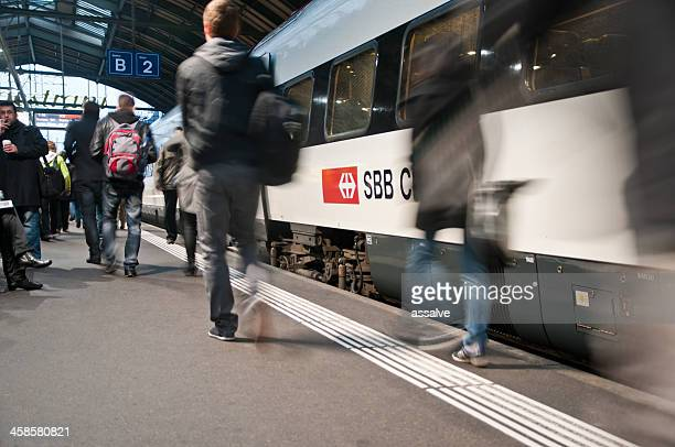 st. gallen main station - passenger train stock photos and pictures