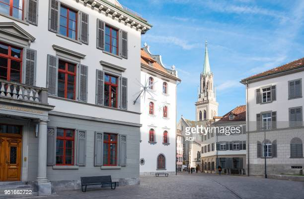 St gallen Switzerland The Bell Tower of the Neo Gotic Style Saint Lawrence Church Seen from The City Center