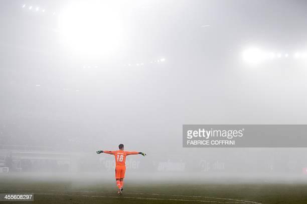 St Gallen's goalkeeper Marcel Herzog gestures during the Europa League Group A football match between FC St Gallen and Swansea City on December 12...