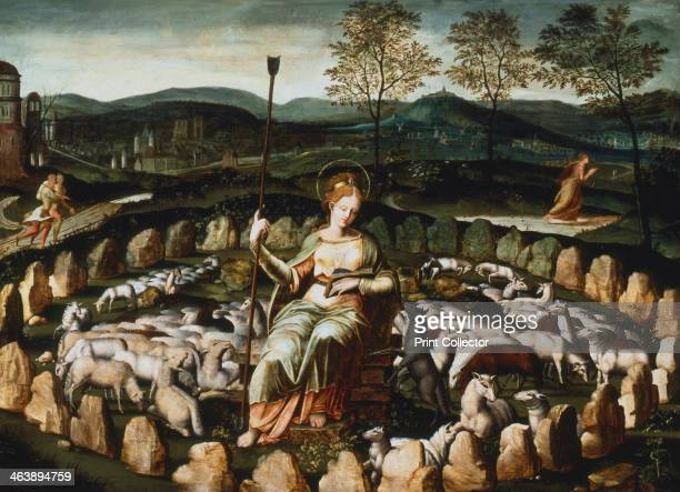 'St Genevieve gardant ses moutons' 16th century St Genevieve or Genovefa the French saint who dedicated herself to God at the age of 7 and took the...