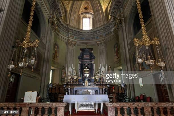 St. Georg Parish Church, interior, altar area, Cannero Riviera, Lago Maggiore, VVerbano-Cusio-Ossola Province, Piedmont Region, Italy