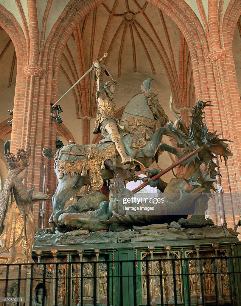 St George and the Dragon statue, inside the Storkyrkan Church, Stockholm, Sweden. : News Photo
