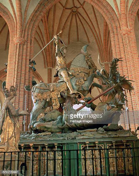 St George and the Dragon statue inside the Storkyrkan Church Stockholm Sweden The Storkyrkan is the oldest church in Gamla Stan the old town of...