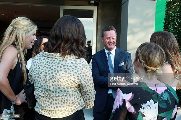 St George HR Director Paul Harvey speaks with the winning designers at the MercedezBenz Fashion Week Australia St George New Generation Designers...