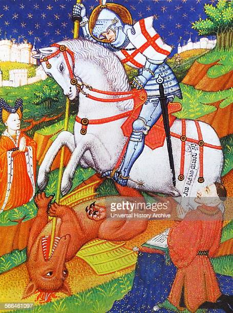 St George killing the Dragon an illustration from a Book of Hours Normandy 143040 From The Island Race a 20th century book that covers the history of...