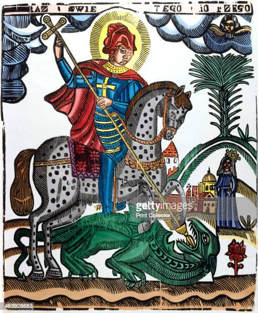 St George mounted on a spotted horse killing the dragon 19th century St George was a half legendary Christian soldier from Cappadocia supposedly...