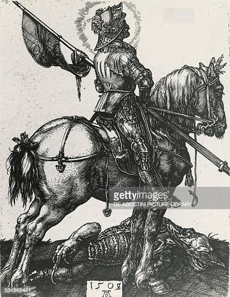 St George on horseback Albrecht Durer engraving Germany 16th century Monaco Bayerische Staatsbibliotek