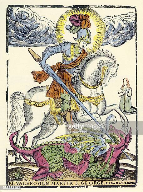 St George slaying the dragon patron of Catalonia / Catalan 17th century illustration of the Christian martyr