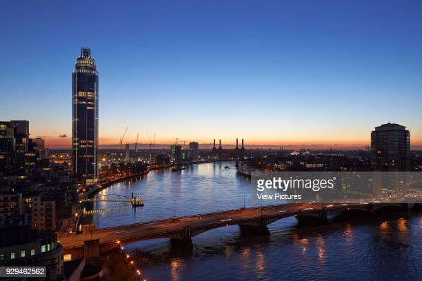 St George Wharf Tower London United Kingdom Architect Broadway Malyan Limited 2013 Sunset elevation with Vauxhall Bridge St George Tower and...