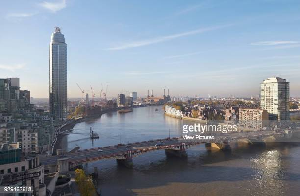 St George Wharf Tower London United Kingdom Architect Broadway Malyan Limited 2013 Elevated Thames view with city landmarks
