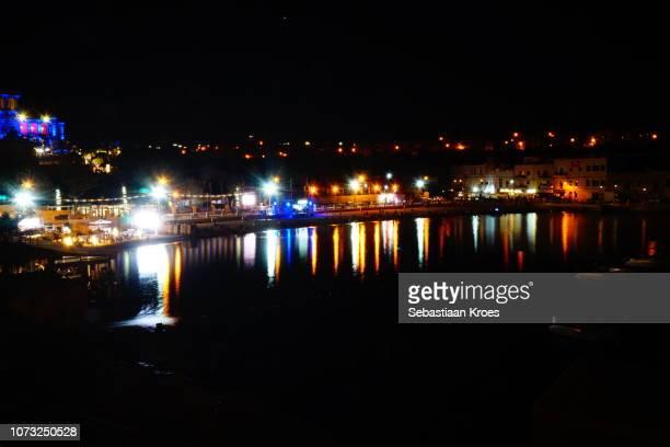 St George's Bay Beach at Night, Reflections, Long Exposure, St Julians, Malta