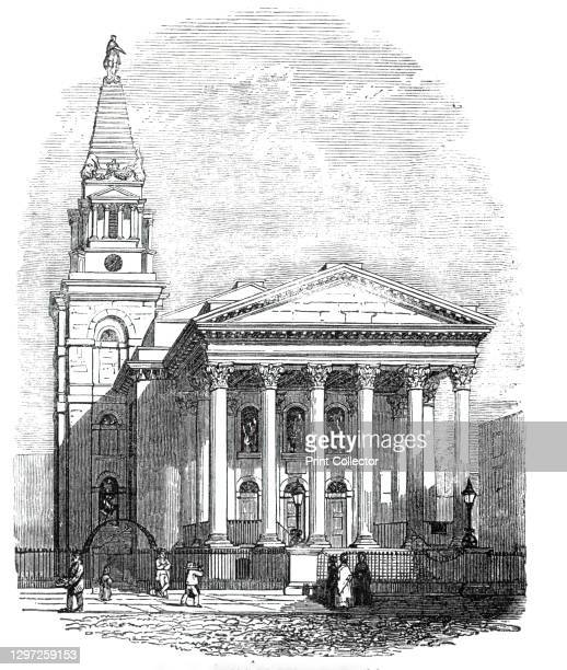 St George's, Bloomsbury, 1844. 'This singular structure, situated in Hart-street, Bloomsbury-square, is one of the fifty new churches appointed to be...