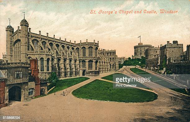 St. George's Chapel and Castle, Windsor', circa 1910. St George's Chapel, Windsor Castle, England. It is both a royal peculiar and the chapel of the...
