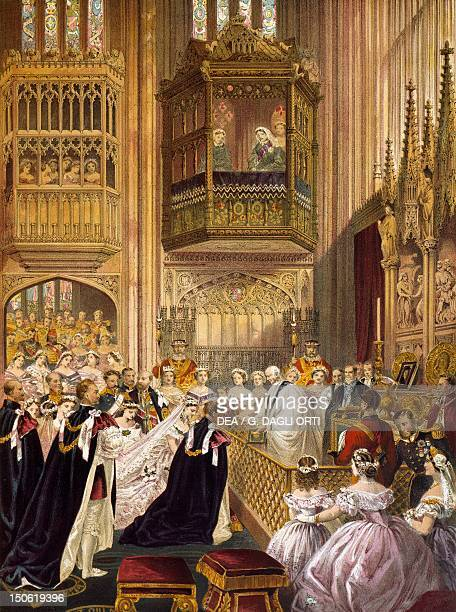St George's Chapel in Windsor the wedding of Edward VII Prince of Wales and Alexandra of Denmark 1863 Victorian age England 19th century
