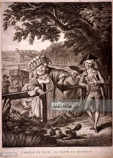 St George's Fields Southwark London c1775 A large woman having difficulty passing through a gap in a fence much to the amusement of the men near by...