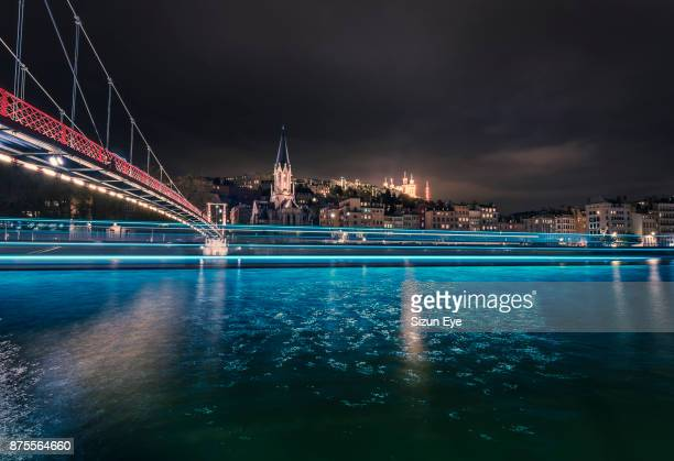 st georges footbridge with saône river and the vieux-lyon distict in lyon city by night, rhône department in france. - rhone stock pictures, royalty-free photos & images