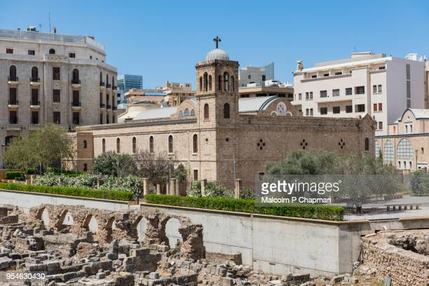 st georges greek orthodox cathedral and roman remains, beirut, lebanon - beirut stock pictures, royalty-free photos & images