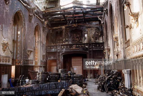 St George S Hall In Windsor Castle After The Fire Which