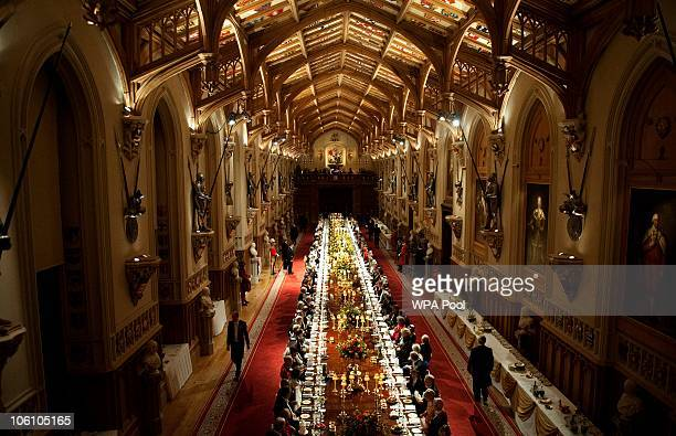 St George's Hall is seen during a banquet held during the state visit of Qatar's Emir Sheikh Hamad bin Khalifa al-Thani and his wife Sheikha Mozah...