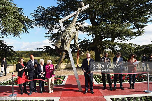 St George's Park chairman David Sheepshanks unveils of the Arthur Wharton Statue at St George's Park on October 16 2014 in BurtonuponTrent England...