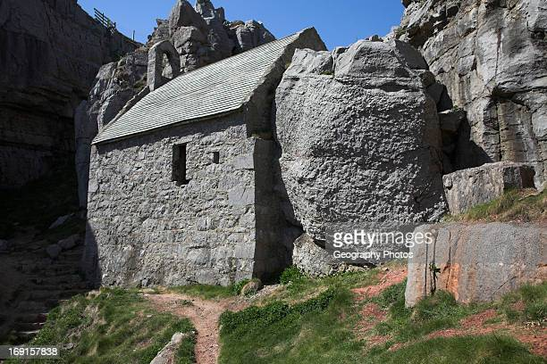 St Govan's Chapel Pembrokeshire coast national park Wales named after a sixth century hermit who once lived here