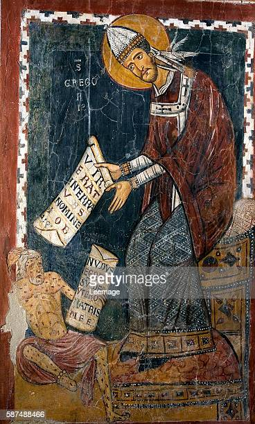 St Gregory the Great and Job at his feet Fresco in St Gregory's Chapel c1224 Italian School Monastero di San Benedetto Subiaco Italy