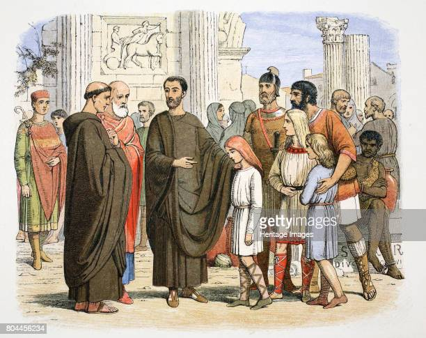 St Gregory the Great and the English slaves at Rome 590 Gregory is shown in Rome with young AngloSaxon slaves he purchased he planned to educate them...