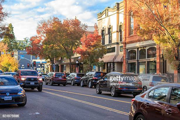 st. helena downtown in napa valley at autumn, california - napa california stock photos and pictures