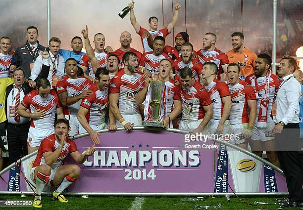 St Helens after winning the First Utility Super League Grand Final between St Helens and Wigan Warriors at Old Trafford on October 11 2014 in...