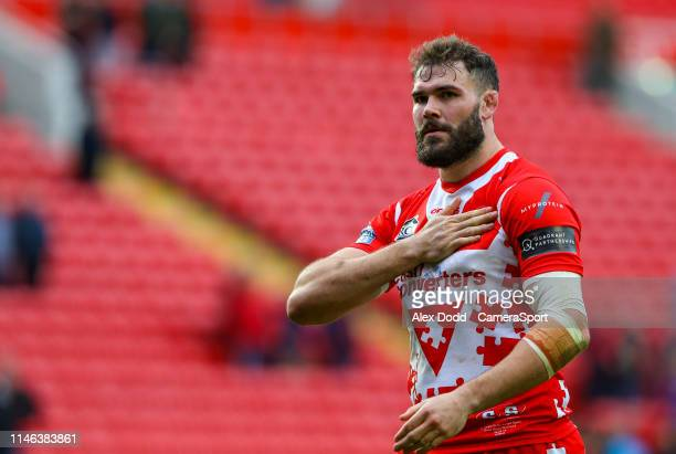 St Helens' Alex Walmsley salutes the fans after the Dacia Magic Weekend Round 16 match between St Helens and Castleford Tigers at Anfield on May 26...