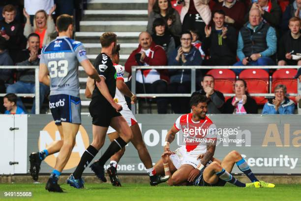 St Helens' Ben Barba celebrates after scoring a try during the Betfred Super League match at the Totally Wicked Stadium St Helens