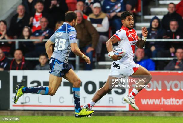 St Helens' Ben Barba runs to score a try during the Betfred Super League match at the Totally Wicked Stadium St Helens