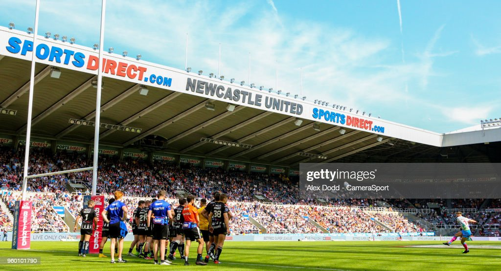St Helens' Danny Richardson kicks a conversion during the Betfred Super League Round 15 match between Widnes Vikings and St Helens at St James' Park on May 19, 2018 in Newcastle upon Tyne, England.