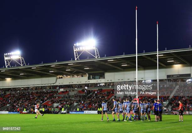 St Helens' Danny Richardson scores a conversion during the Betfred Super League match at the Totally Wicked Stadium St Helens