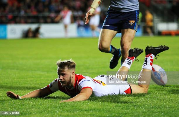 St Helens' Danny Richardson scores a try during the Betfred Super League match at the Totally Wicked Stadium St Helens