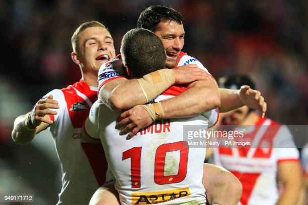 St Helens' Kyle Amor celebrates after scoring a try during the Betfred Super League match at the Totally Wicked Stadium St Helens
