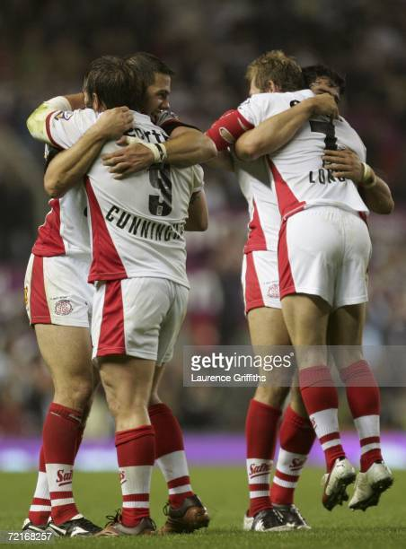 St Helens players celebrate as the final whistle blows during the Engage Super League Grand Final between St Helens and Hull FC at Old Trafford on...