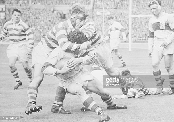 A St Helens Rugby player is tackled by Halifax's captain A Ackerley during a goal attempt St Helens won the Rugby League Challenge Cup Final with a...