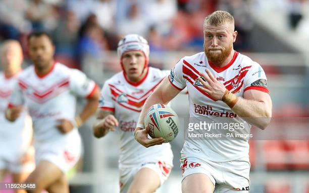 St Helens Saints' Luke Thompson in action against Wakefield Trinity during the Betfred Super League match at The Totally Wicked Stadium St Helens