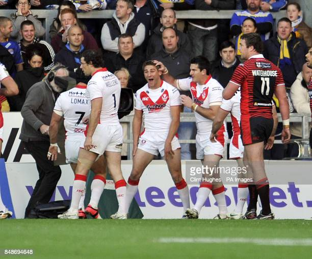 St Helens's Tommy Makinson celebrates after scoring the first try during the Stobart Super League Semi Final Langtree Park St Helens