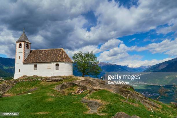 St Hippolyt church in the mountains of South Tyrol on April 21 2015 in Lana Italy